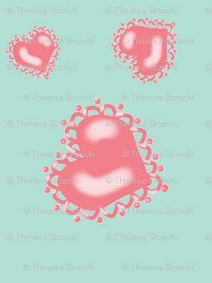 Pink Hearts on Mint