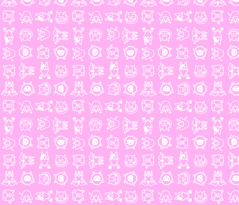 Sweet Animals Pink fabric by benoitdesigns on Spoonflower - custom fabric