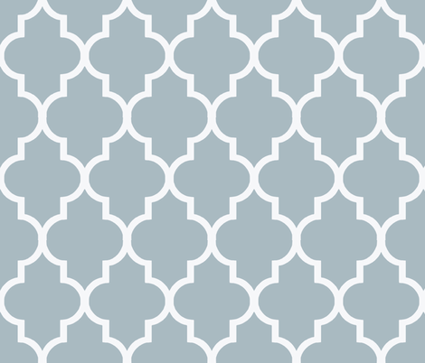 Cashmere Blue and White Quatrefoil fabric by willowlanetextiles on Spoonflower - custom fabric
