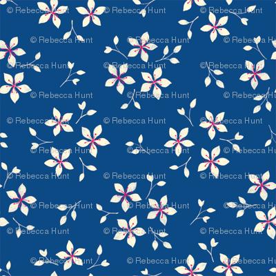 Floral on Blue
