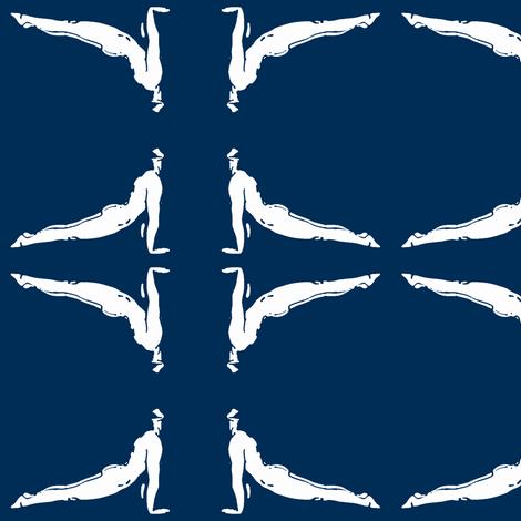 Yoga Photoframe Up Dog Blue fabric by vk_creative on Spoonflower - custom fabric