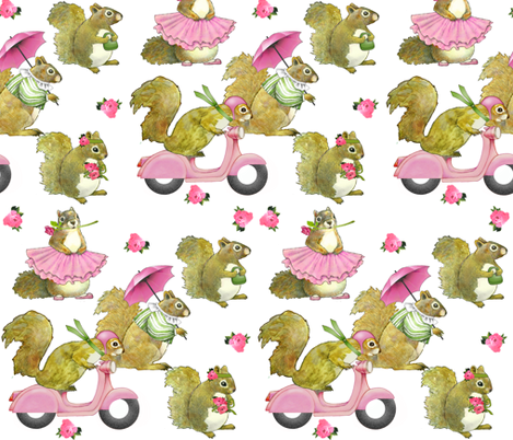 Girly Squirrels on white fabric by golders on Spoonflower - custom fabric