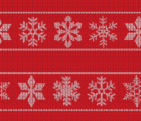 Snowflake Sweater - red fabric by jwitting on Spoonflower - custom fabric