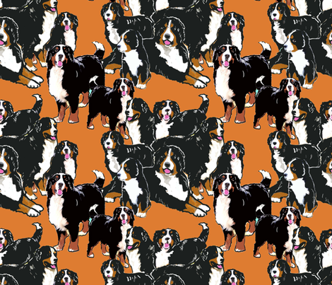 bernese Mountain dog mural fabric fabric by dogdaze_ on Spoonflower - custom fabric