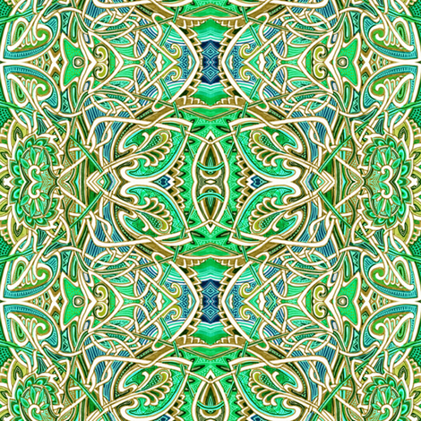 Scramble Around the Gardens (Ivory and Green Leaf Abstract) fabric by edsel2084 on Spoonflower - custom fabric