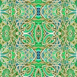 Scramble Around the Gardens (Ivory and Green Leaf Abstract)