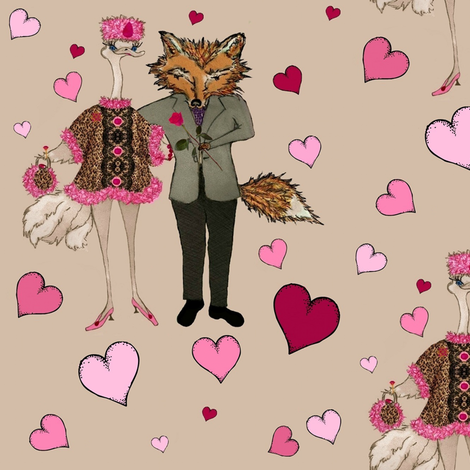 Foxy Hearts fabric by paragonstudios on Spoonflower - custom fabric