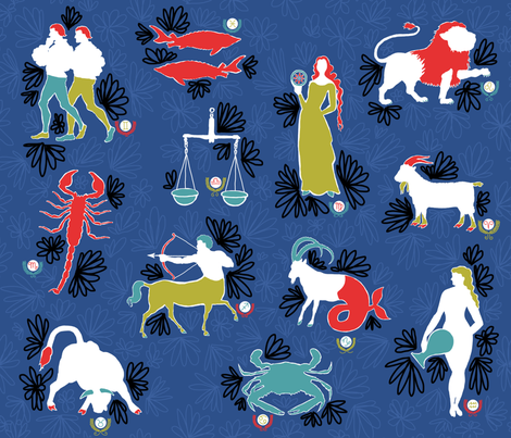Zodiac fabric by elizabethdoyle on Spoonflower - custom fabric