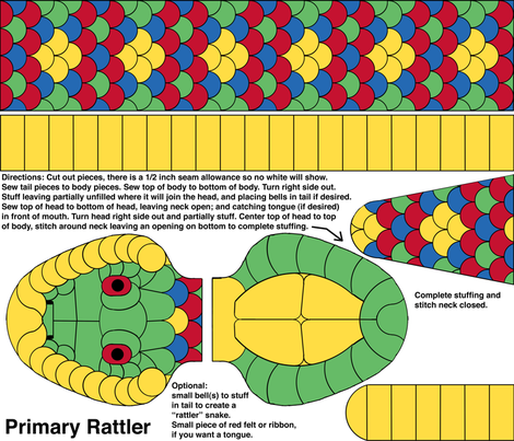 Baby Primary Rattler - cut and sew kit fabric by victorialasher on Spoonflower - custom fabric