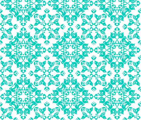 Freyja Forest -small teal on white fabric by bjornonsaturday on Spoonflower - custom fabric