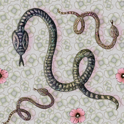 Snake year with flowers