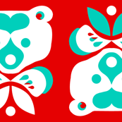 Love Bear -teal &amp; white on red