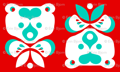 Love Bear -teal & white on red