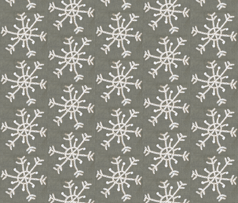 Embroidered Snowflake on Linen fabric by owlandchickadee on Spoonflower - custom fabric