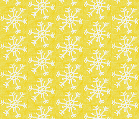 Embroidered Snowflake on Linen-Golden fabric by owlandchickadee on Spoonflower - custom fabric