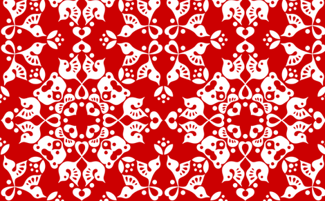 Freyja_forest_red fabric by bjornonsaturday on Spoonflower - custom fabric