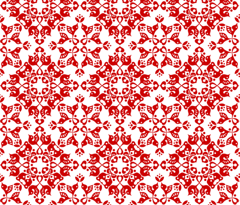 Freyja Forest -small red on white fabric by bjornonsaturday on Spoonflower - custom fabric