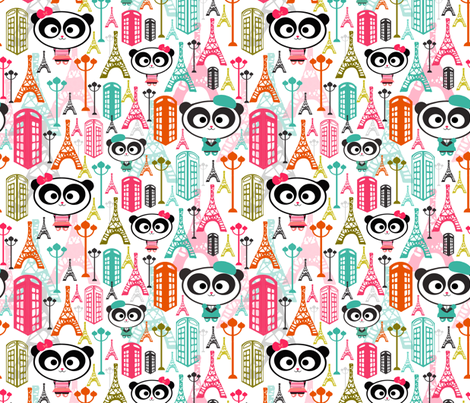 Paris Panda fabric by natitys on Spoonflower - custom fabric