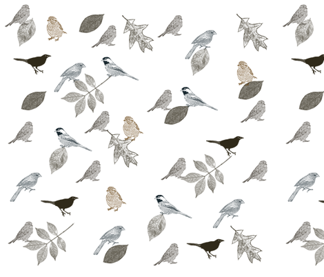 Birds and Leaves fabric by pencreations on Spoonflower - custom fabric