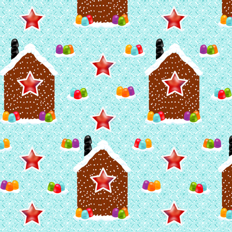 Christmas Pretzel Cabins fabric by glimmericks on Spoonflower - custom fabric