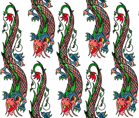 Dragon ink / white fabric by paragonstudios on Spoonflower - custom fabric