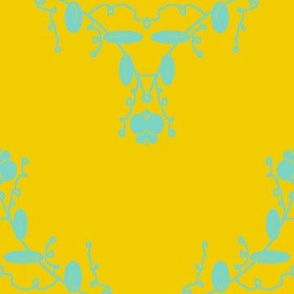 Gold and aqua damask