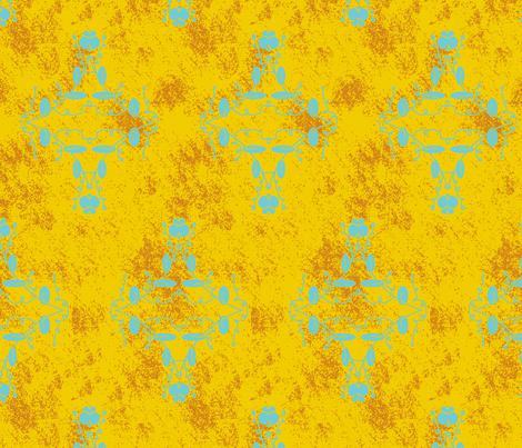Gold Orange and Turquoise Grunge Damask fabric by captiveinflorida on Spoonflower - custom fabric