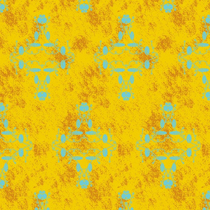 Gold Orange and Turquoise Grunge Damask