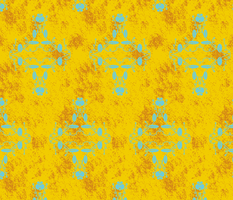 Gold Orange and Turquoise Grunge Damask fabric by captiveinflorida on Spoonflower - custom fabric