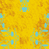 Gold Orange and Aqua Grunge Damask