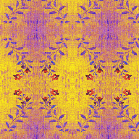 Flowers and Lace = purple, red, yellow serpentine pattern fabric by materialsgirl on Spoonflower - custom fabric
