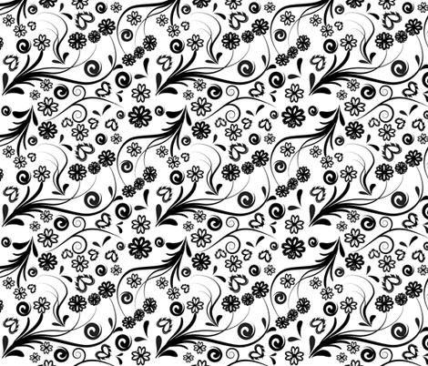 swirl-flowers-pattern fabric by cutiecat on Spoonflower - custom fabric