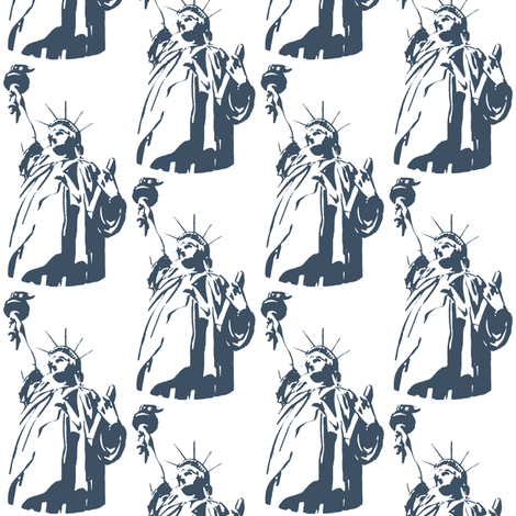 Lady Liberty / indigo fabric by paragonstudios on Spoonflower - custom fabric