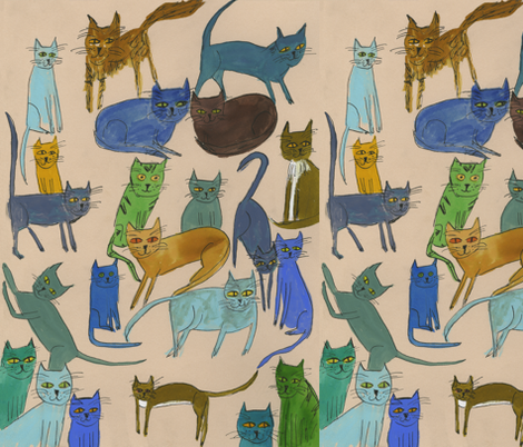 Cats Galore fabric by vivienne_strauss on Spoonflower - custom fabric