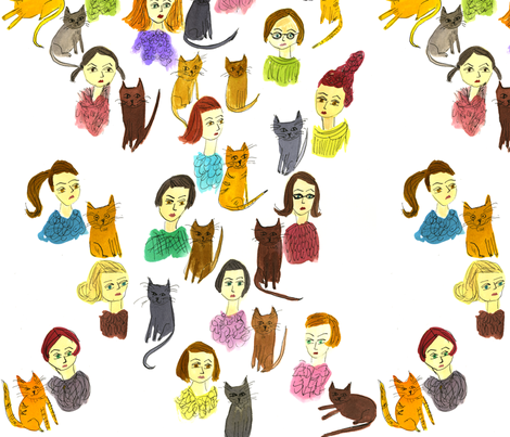 Cat Ladies fabric by vivienne_strauss on Spoonflower - custom fabric