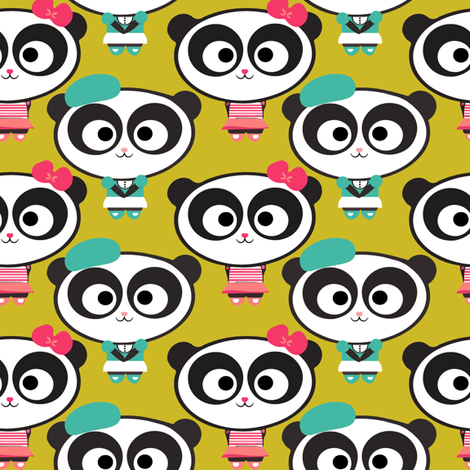 Pandas on Lime fabric by natitys on Spoonflower - custom fabric