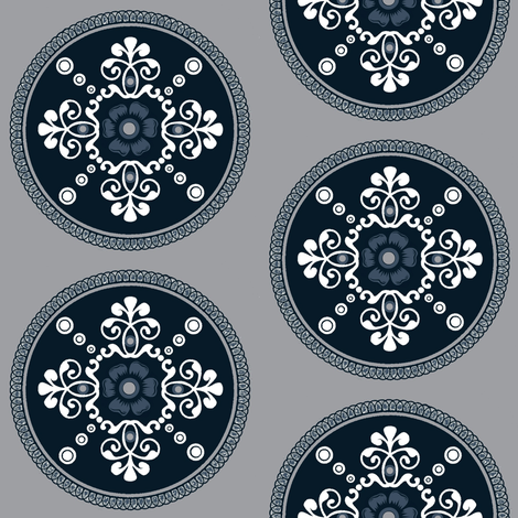 Timeless medallion / blue fabric by paragonstudios on Spoonflower - custom fabric