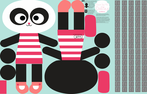 Panda doll fabric by natitys on Spoonflower - custom fabric