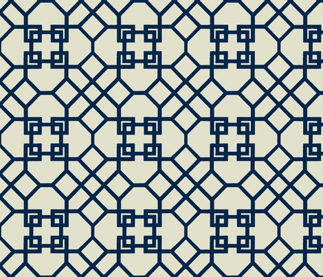 Lattice- Navy-Large fabric by melberry on Spoonflower - custom fabric
