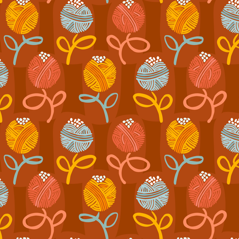 Yarn Ball Flora-Main fabric by gsonge on Spoonflower - custom fabric