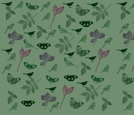 Green Birds and Butterflies fabric by peacefuldreams on Spoonflower - custom fabric