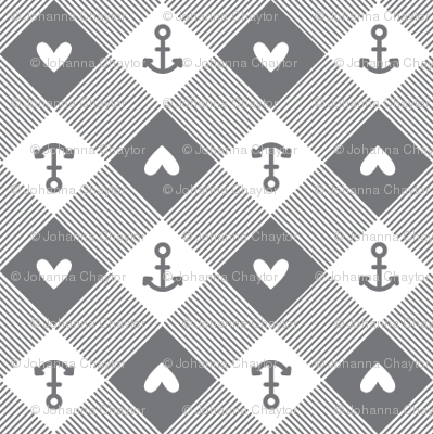 anchor gingham in grey