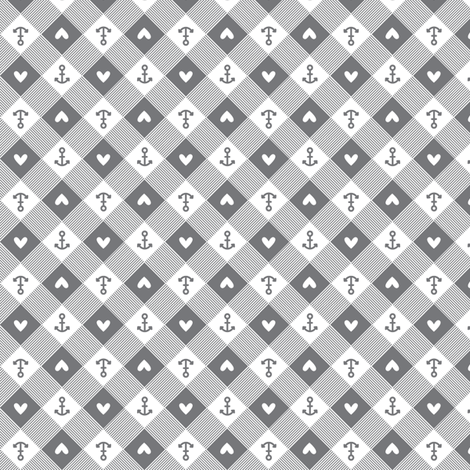 anchor gingham in grey fabric by charlotteandstewart on Spoonflower - custom fabric