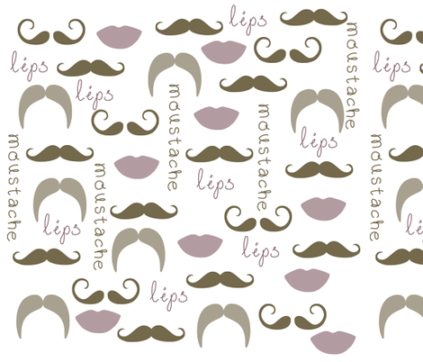 Mustache and Lips fabric by pencreations on Spoonflower - custom fabric