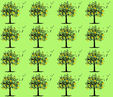 Orange-tree-orchard fabric by cutiecat on Spoonflower - custom fabric