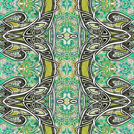 Spades Over Paisley (green vertical stripe) fabric by edsel2084 on Spoonflower - custom fabric