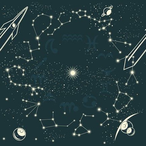 space with zodiac constellations