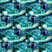 teal swirls landscape --blue police box landscape (900 dpi)