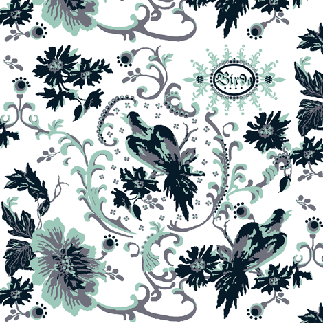 birds of paradise / navy fabric by paragonstudios on Spoonflower - custom fabric