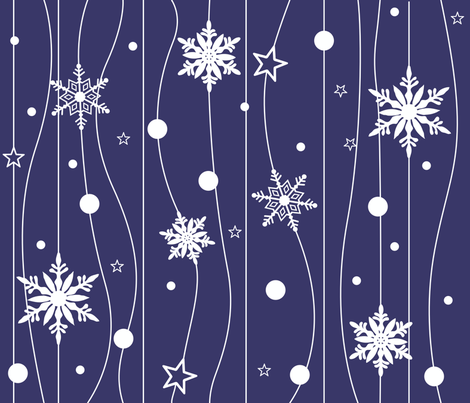 Snowflake Trail - Blue fabric by illustrative_images on Spoonflower - custom fabric